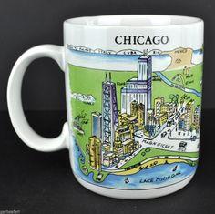 Chicago Harvey Hutter A View of the World Coffee Mug Tea Cup Korea CityMugs