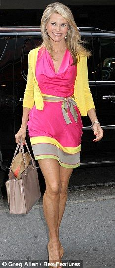 Day-Glo: Christie Brinkley steps out in bright neon colors pink and yellow  #neon #neoncolors #fashion