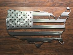 American Flag States Outline Metal Art Sign USA by QueenCityFab