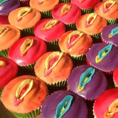 There is nothing subtle about this set of four rainbow coloured vagina cupcakes - we suggest you pretend they are lily cupcakes if anyone prudish pops around unannounced!