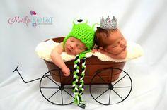 Cute baby girl boy twin photo idea. Princess and frog. Photography idea.