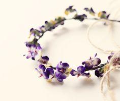 Violet flower crown Bridal hair wreath Purple by whichgoose