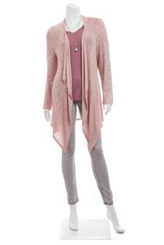 Soft rose colored tee and lovely cardigan in red and cream with sparkly silver thread woven throughout for a shimmering look.