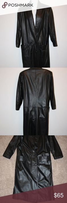 """GIII Black Leather Jacket Small Coat Long Trench G III  Mint Condition  Jacket  Black  Two Front Pockets  Button Down  Lined  Trench Style  Lightly Padded Shoulders  Small  Chest:  44"""" (armpit to armpit, then doubled)  Waist:  42""""  Sleeve Length:  21 3/4"""" (outside of sleeve)  Length:  48 1/2"""" (top of rear collar then down)  Shoulder Seam to Shoulder Seam:  18""""  Shell:  100% Leather  Lining:  100% Nylon GIII Jackets & Coats Trench Coats"""