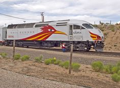 The New Mexico Roadrunner is a train that runs from Belen to Santa Fe Rail Runner NMRX 105, a MPI MP36PH 3C used for the service