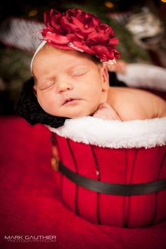 Newborn + Photography + Baby Girl + Christmas + Boutique Headband + Twinkle Belle   *Buy this headband and others just as cute at: http://www.etsy.com/shop/ShopTwinkleBelle *