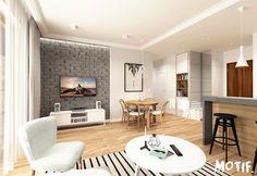 Tamka 29- I propozycja - Mały salon z barkiem z kuchnią z jadalnią, styl skandynawski - zdjęcie od MOTIF Bedroom Decor, House Design, Living Room, Interior Design, Cool Stuff, Kitchen, Table, Furniture, Home Decor