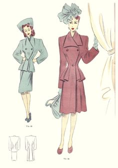 1946 - love the style of the pink coat