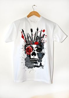 T-shirt with a skull for men by ShopBohema on Etsy