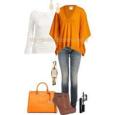Mk & V-Neck Cashmere Sweater, created by casuality on Polyvore Everything except the shoes.