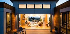 Blu Homes has great home ideas and design inspiration for prefab homes. Here they use bifolding glass walls by NanaWall to connect the home to the outside. Indoor outdoor living with bifolding glass doors in a prefab home built by Blu Homes. Container Home Designs, Container House Plans, Modern Prefab Homes, Prefabricated Houses, Prefab Homes Canada, Prefab Cabins, Kit Homes, Tiny House Design, Modern House Design