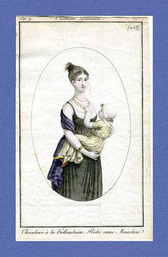 """Sleeveless! """"Robe sans manches."""" 1800 Journal des dames et des modes, Paris"""