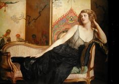 """Reclining Woman"", c. 1910s, by John Collier (English, 1850-1934)."