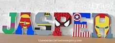 Superhero Letters Superhero painted wooden wall