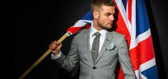 me my suit and tie hound style box flag union jack tie pocket square sebastian ford tie bar grey suit style fashion