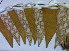 Hessian and Lace bunting available to hire from Bunting Queen, perfect for rustic or country themed weddings or parties. From per metre. Lace Bunting, Themed Weddings, Hessian, Banners, Parties, Gift Wrapping, Colours, Rustic, Queen