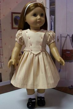 1944 soft pink and ivory striped frock by Keepersdollyduds, via Flickr