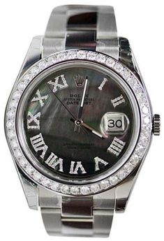 Rolex Datejust 2 116300 Stainless Steel Grey Mother of Pearl Dial and 3.15ct Diamond Bezel 41mm Mens Watch