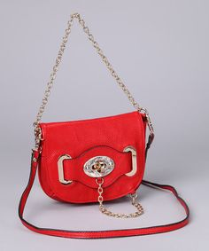 Take a look at this Red Turnkey & Chain Shoulder Bag by Adhesion, LLC on #zulily today!
