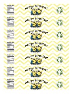 Minion Water Label for small water bottles. 7 on a page. Minion Birthday water bottle label