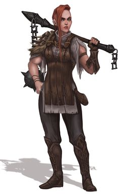 faeriefountain: Dungeons And Dragons character concept sketch render commission for the Dungeons and Randomness podcast! Female maul Warrior