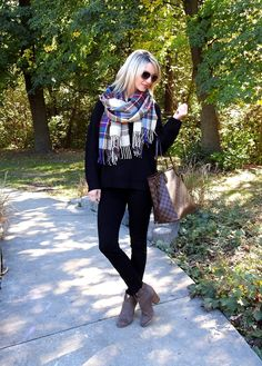 Perfect winter outfit - black cozy sweater and plaid scarf