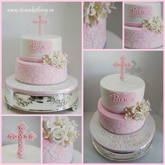 First Communion Cake - Damask Beauty