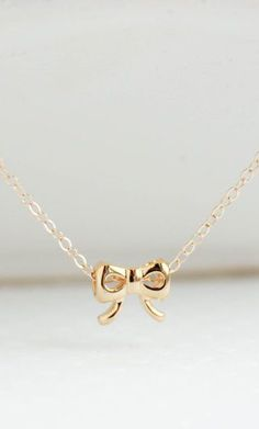 Gold Jewelry Gold Bow Necklace dainty handmade