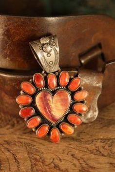 A Cowgirl's Heart Pendant Heart Jewelry, Bohemian Jewelry, Turquoise Jewelry, Silver Jewelry, Navajo Jewelry, Western Jewelry, I Love Heart, Southwest Jewelry, Orange And Turquoise