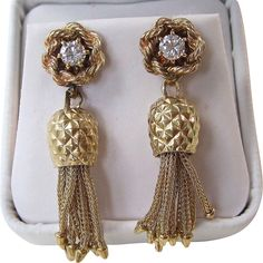 Vintage Estate 1950's Diamond Dangle Earrings 14K