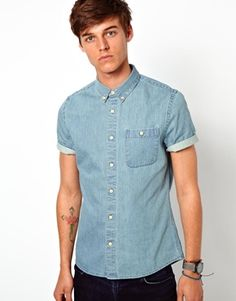 Short Sleeve Denim Shirt For Men