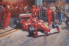 Car Racing Print - Just Another Day At The Office Signed by Michael Schumacher    Artist: Alan Fearnley    Dimensions: 23″ X 15 3/4″ image size, 30″ X 22″ overall size    Driver: Michael Schumacher    Limited Edition #41/500    #Schumacher #carracing #prints #carracingprints #MichaelSchumacher #limitededitions #collertorsitem #collectors #AlanFearnley