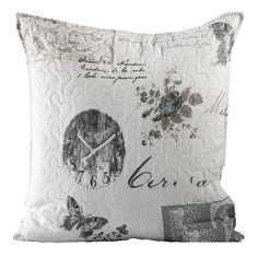 Biało szara poszewka na poduszkę w stylu vintage