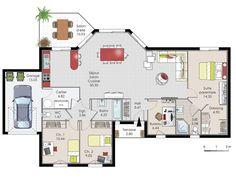 Plan maison meublé - Maison de plainpied 1