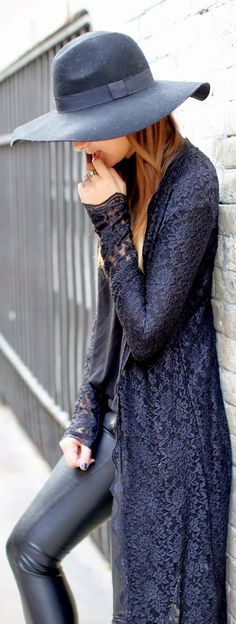 What A Lace Cardigan, Hat With Leather Pant - loved the duster so I had my tailor make it for me for 350 RMB = 58 USD for tailoring and materials (including lace and lining)