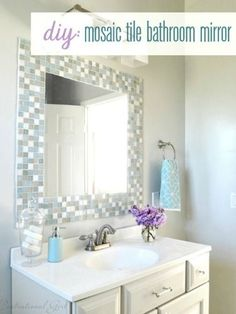 10 DIY Ways to Amp Up Builder-Grade Basics Tile around your bathroom mirror. See tuitorial at Centsational Girl or Home Depot explanation at http://ext.homedepot.com/community/blog/how-to-create-a-mirror-frame-with-tile/