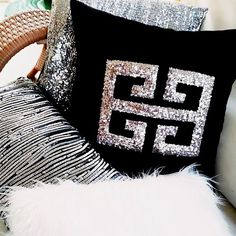 Decorative Throw Pillow Silvery Greek Key Black Velvet, Glitter Cushion Cover, Pillowcase Different Home Decor & Gift Ideas by HomeDecorLiving on Etsy Silver Pillows, Pink Pillows, Throw Cushions, Decorative Pillow Covers, Throw Pillow Covers, Decorative Throw Pillows, Pillow Cases, Sequin Pillow, Creation Deco