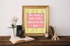 She leaves a little sparkle wherever she goes, Gold chevron print Girls room decor Motivational poster Pink and gold nursery decor by TheHappyNutshell on Etsy