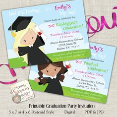 Girls Graduation Invitation Preschool Announcement Kindergarten Invite Customized For Kids You Print By Songinmyheart
