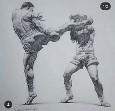 Drawing by Chris Legaspi Muay Thai, Life Drawing, Figure Drawing, Boxe Fight, Art Sketches, Art Drawings, Fighting Poses, Academic Art, Action Poses