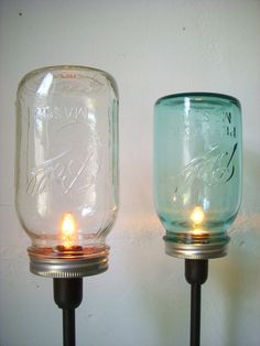 Sapphire Blue and Clear Mason Jar Table Top Lamps - Rustic Industrial Lighting Fixtures - Upcycled BootsNGus Light Design - Set of 2