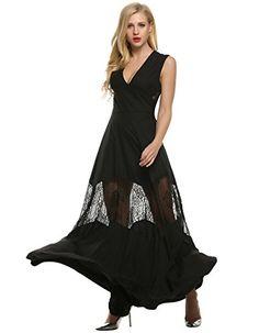 Angvns Womens Elegant Deep Vneck Lace Patchwork Floor length Evening Dress  M Black     9f493f9fd5cf