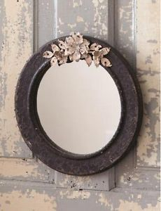 """10"""" Round Hanging Mirror ~Chippy Frame~ Metal Flowers~Shabby Cottage Chic"""