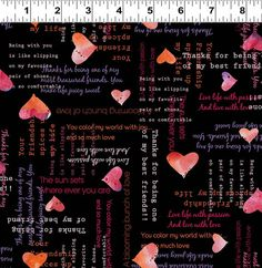 Hearts and Words on Black Valentines Day Fabric by StashTraders