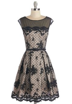 Grace the Pages Dress - Polka Dots, Lace, Scallops, Belted, Party, Cocktail, A-line, Cap Sleeves, Woven, Mid-length, Pockets, Vintage Inspired, Black, Tan / Cream, Solid, Floral, Prom, Wedding, Homecoming, 50s, 60s, Luxe, Darling, Sheer, Lace, Boat