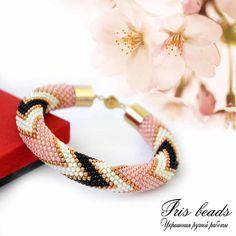 """Купить Жгут из Бисера Браслет """"Яблоневый Сад"""" - розовый, жгут, жгут из японского бисера"""