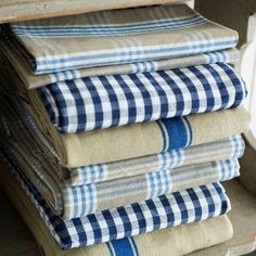 Blue and Khaki Plaid tablecloth by At Home with Marieke.