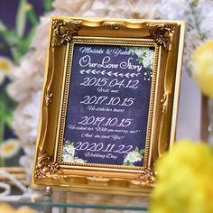 最新おしゃれ花嫁の定番「ラブストーリー」アンティークゴールドフォトフレーム│結婚式のウェルカムスペースに/今\インスタで話題/のアイテムの商品紹介ページです。結婚式アイテム通販ならファルベ。
