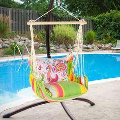 Have to have it. Magnolia Casual Flamingo Hammock Chair & Pillow Set - $159.99 @hayneedle.com