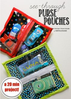 Sewing Tutorials See-Through Zipper Pouches - So easy to make, and perfect for organizing small items in diaper bags, purses, gym bags and more! - A sewing tutorial for see-through zipper pouches. Perfect for organization purses, backpacks and more! Easy Sewing Projects, Sewing Tutorials, Sewing Hacks, Sewing Crafts, Sewing Patterns, Diy Projects, Diy Crafts, Sewing Tips, Tutorial Sewing